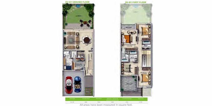 Planning of the apartment Villas 4BR, 2719 in Sanctnary, Dubai