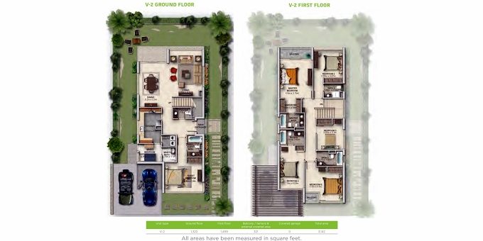 Planning of the apartment Villa 6BR, 2987.31 in Juniper, Dubai