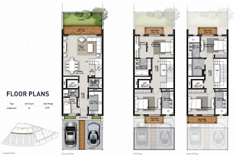 Planning of the apartment Villas 4BR, 3233 in Sobha Hartland Villas, Dubai