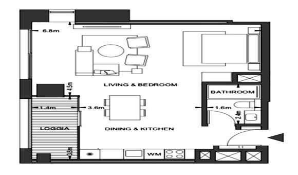 Planning of the apartment Studios, 578 in Pixel, Abu Dhabi