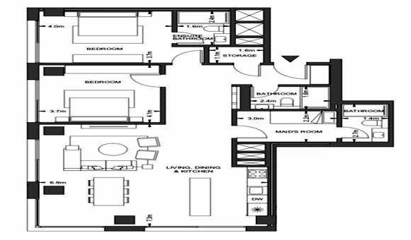 Planning of the apartment 2BR, 1264 in Pixel, Abu Dhabi