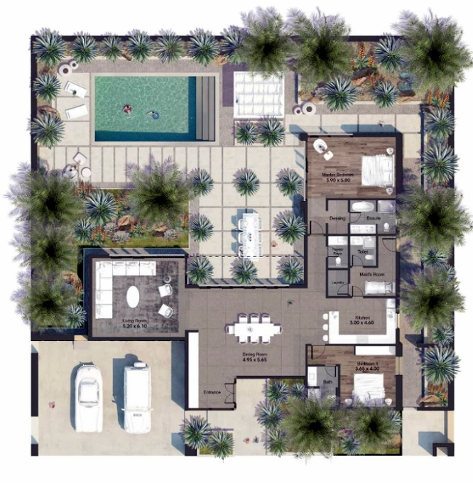 Planning of the apartment Villas 2BR, 3261.46 in AlJurf Gardens, Abu Dhabi