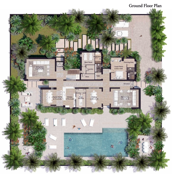 Planning of the apartment Villas, 12120 in AlJurf Gardens, Abu Dhabi