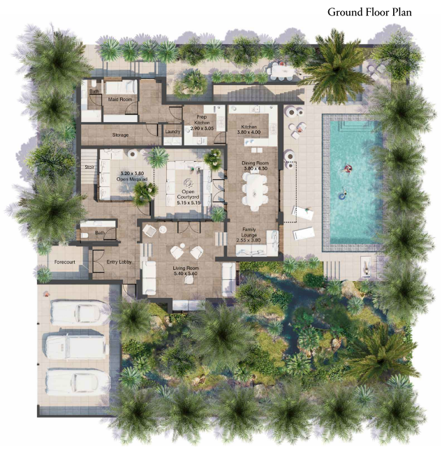 Planning of the apartment Villas 3BR, 4542 in AlJurf Gardens, Abu Dhabi