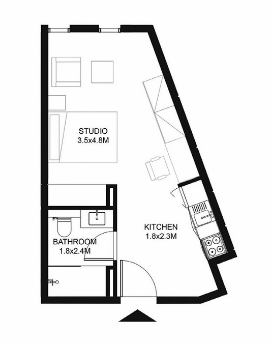Planning of the apartment Studios, 348 in Nest, Sharjah