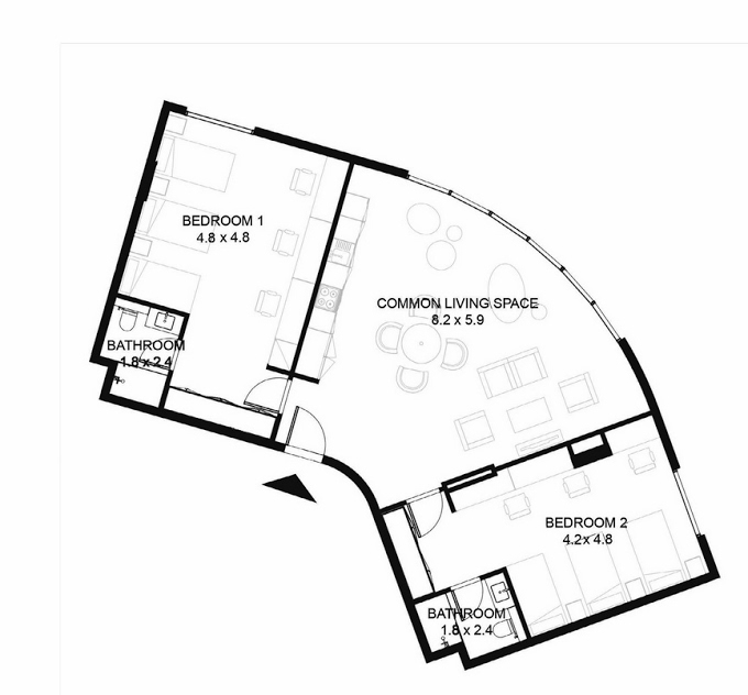 Planning of the apartment 2BR, 1320 in Nest, Sharjah