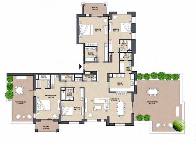 Planning of the apartment 4BR, 2447 in Asayel Madinat Jumeirah Living, Dubai