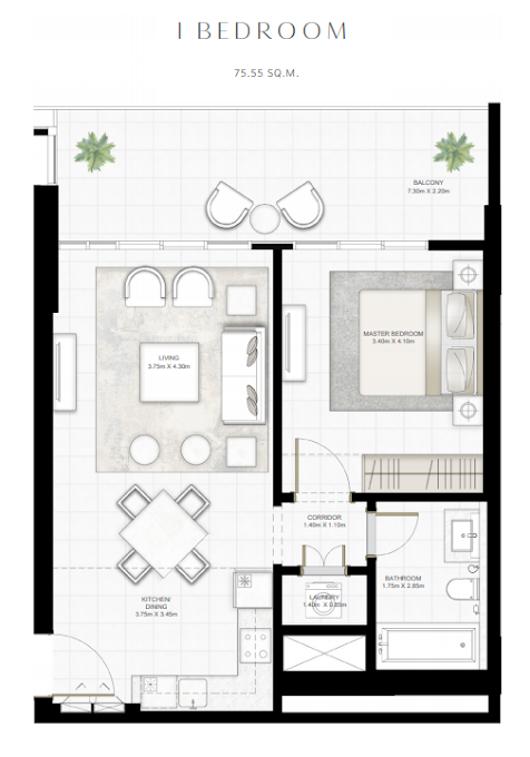 Planning of the apartment 1BR, 813 in Sunrise Bay, Dubai