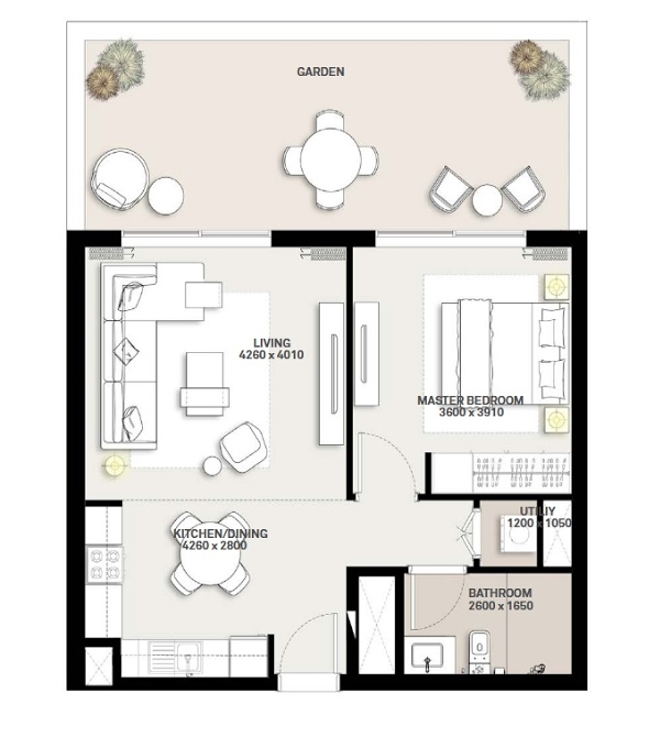 Planning of the apartment 1BR, 603.86 in Green Square, Dubai