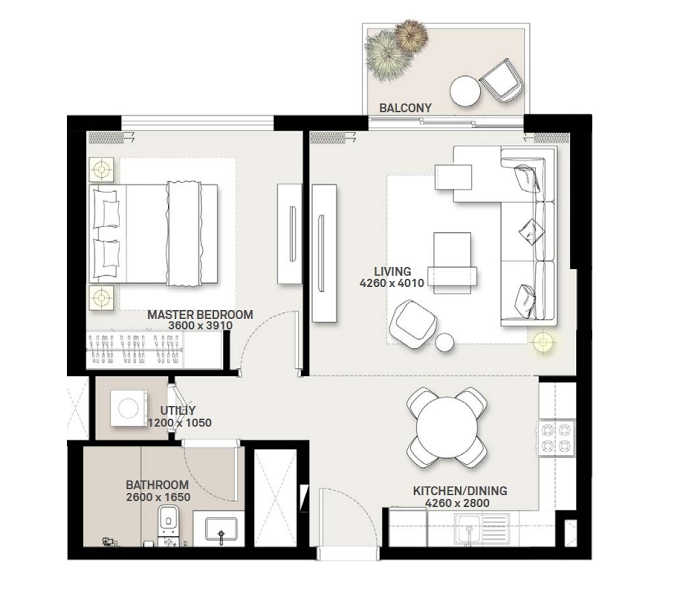 Planning of the apartment 1BR, 603.42 in Green Square, Dubai