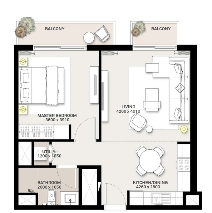Planning of the apartment 1BR, 613.97 in Green Square, Dubai
