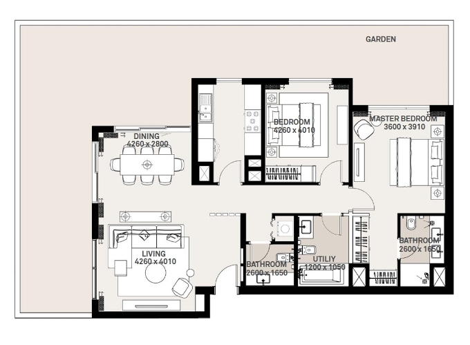 Planning of the apartment 2BR, 1132.36 in Green Square, Dubai