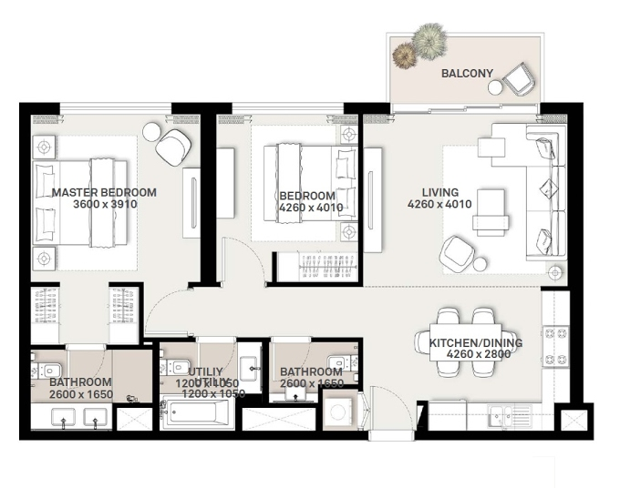Planning of the apartment 2BR, 938.83 in Green Square, Dubai