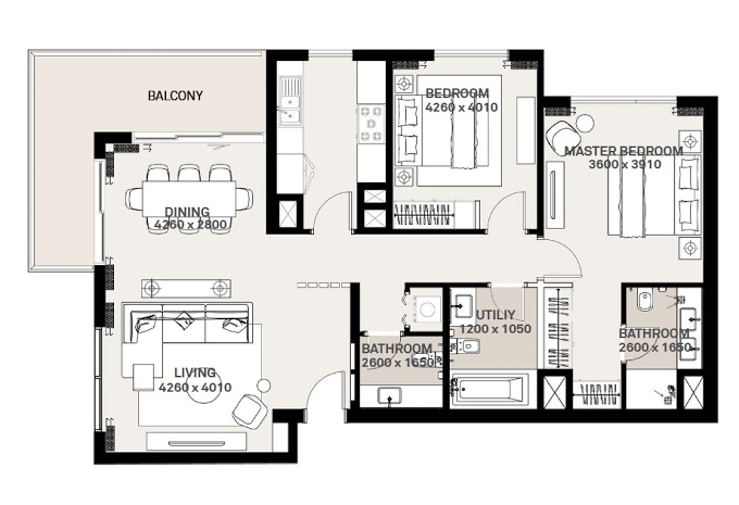 Planning of the apartment 2BR, 1132.26 in Green Square, Dubai