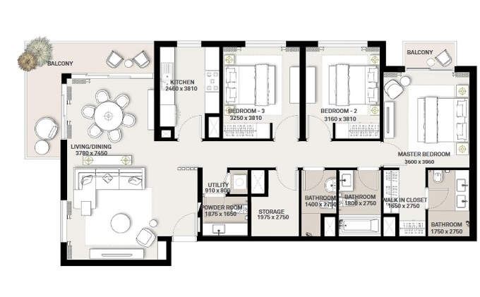 Planning of the apartment 3BR, 1403.51 in Green Square, Dubai