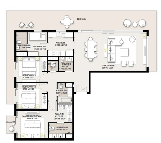 Planning of the apartment 3BR, 1505.66 in Green Square, Dubai