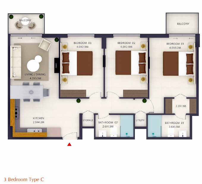 Planning of the apartment 3BR, 1010.7 in The Nook, Dubai