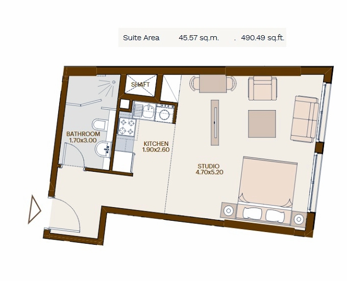 Planning of the apartment Studios, 490.49 in Chaimaa Avenue, Dubai