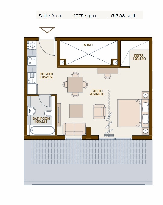 Planning of the apartment Studios, 513.98 in Chaimaa Avenue, Dubai