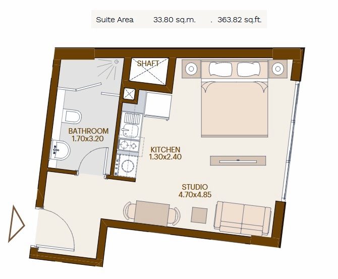 Planning of the apartment Studios, 363.82 in Chaimaa Avenue, Dubai