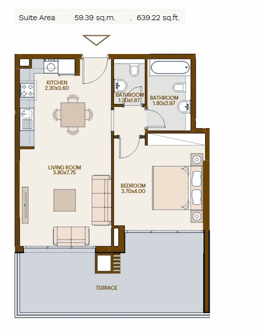 Planning of the apartment 1BR, 639.22 in Chaimaa Avenue, Dubai