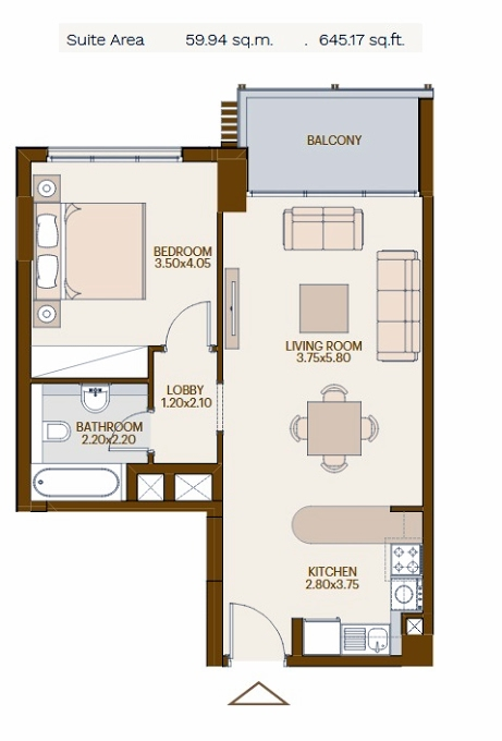 Planning of the apartment 1BR, 645.17 in Chaimaa Avenue, Dubai