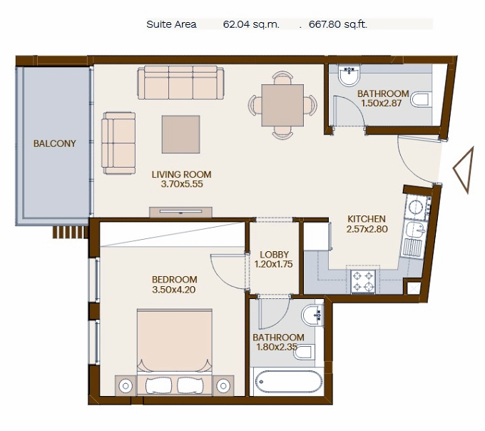 Planning of the apartment 1BR, 667.8 in Chaimaa Avenue, Dubai