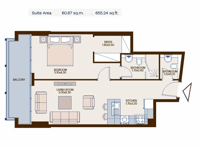 Planning of the apartment 1BR, 655.24 in Chaimaa Avenue, Dubai