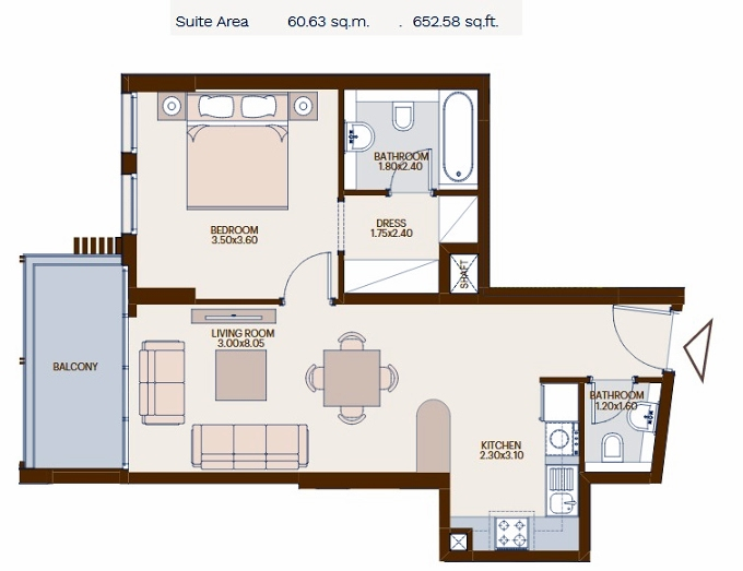 Planning of the apartment 1BR, 652.58 in Chaimaa Avenue, Dubai