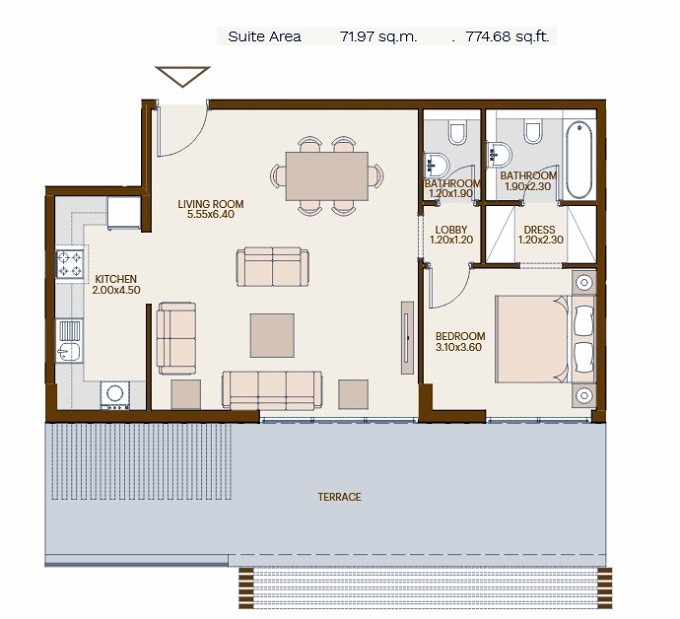 Planning of the apartment 1BR, 774.68 in Chaimaa Avenue, Dubai