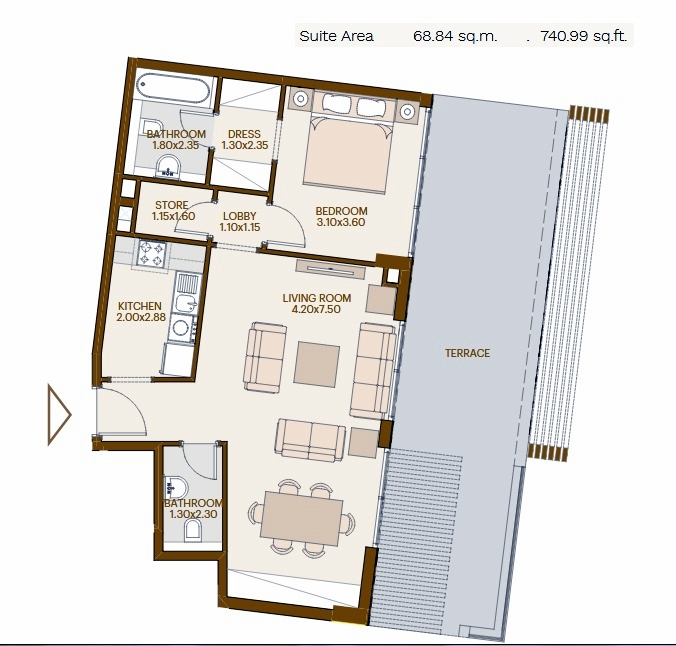 Planning of the apartment 1BR, 740.99 in Chaimaa Avenue, Dubai