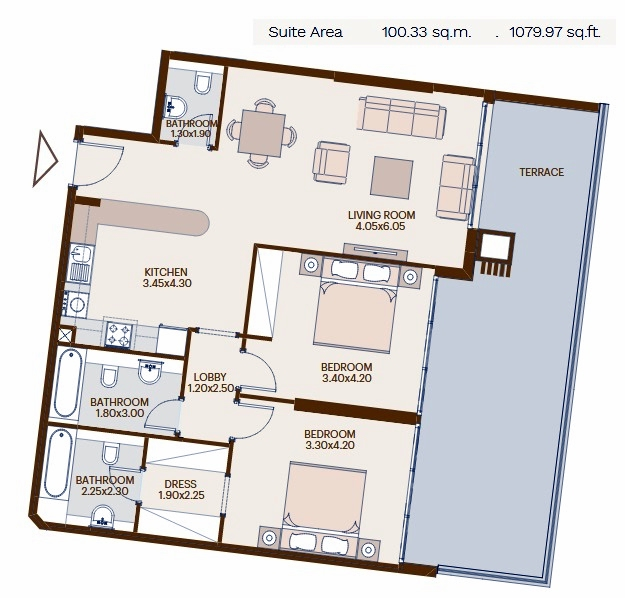 Planning of the apartment 2BR, 1079.97 in Chaimaa Avenue, Dubai