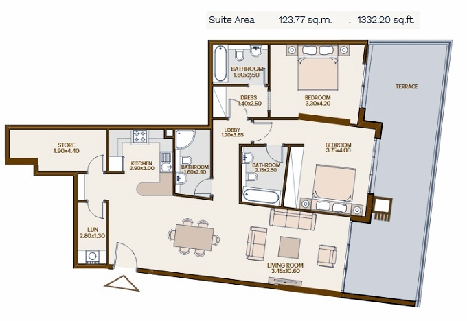 Planning of the apartment 2BR, 1332.2 in Chaimaa Avenue, Dubai