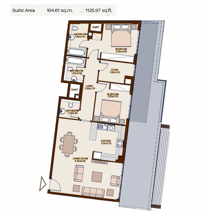 Planning of the apartment 2BR, 1125.97 in Chaimaa Avenue, Dubai