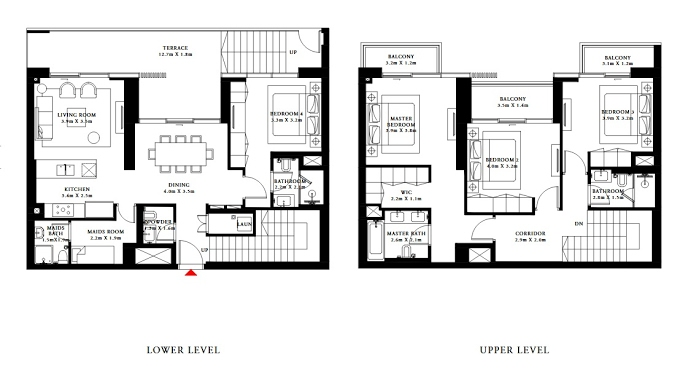 Planning of the apartment Villas 4BR, 2063.77 in Beach Isle, Dubai