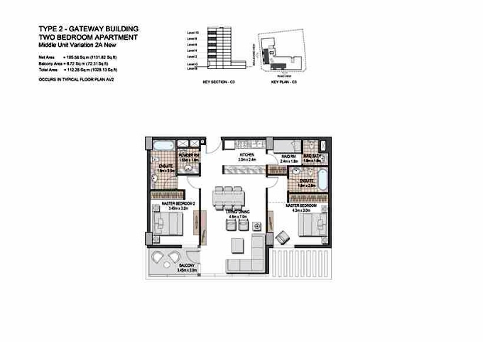 Planning of the apartment 2BR, 1028.13 in The Villages, Dubai