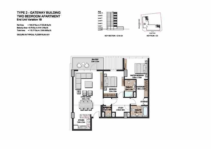 Planning of the apartment 2BR, 1245.89 in The Villages, Dubai