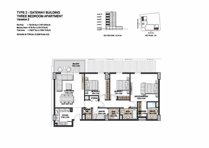 Planning of the apartment 3BR, 1506.1 in The Villages, Dubai