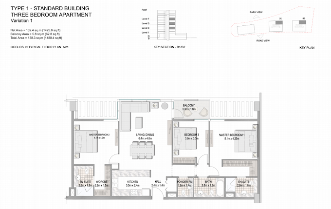 Planning of the apartment 3BR, 1488.4 in The Villages, Dubai