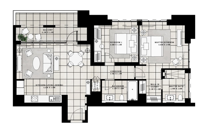 Planning of the apartment 2BR, 1067.03 in Vida Residences at Creek Beach, Dubai