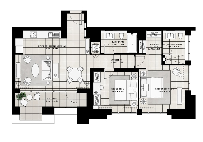 Planning of the apartment 2BR, 1084.03 in Vida Residences at Creek Beach, Dubai