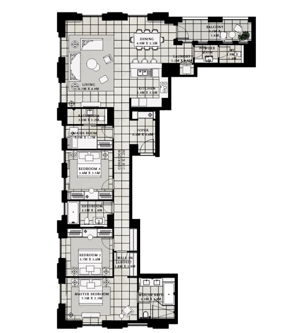 Planning of the apartment 3BR, 1860.76 in Vida Residences at Creek Beach, Dubai