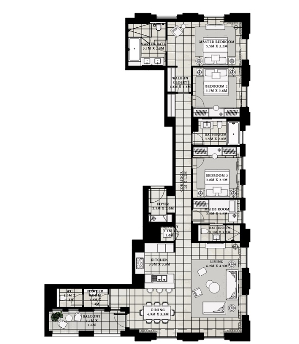 Planning of the apartment 3BR, 1845.04 in Vida Residences at Creek Beach, Dubai