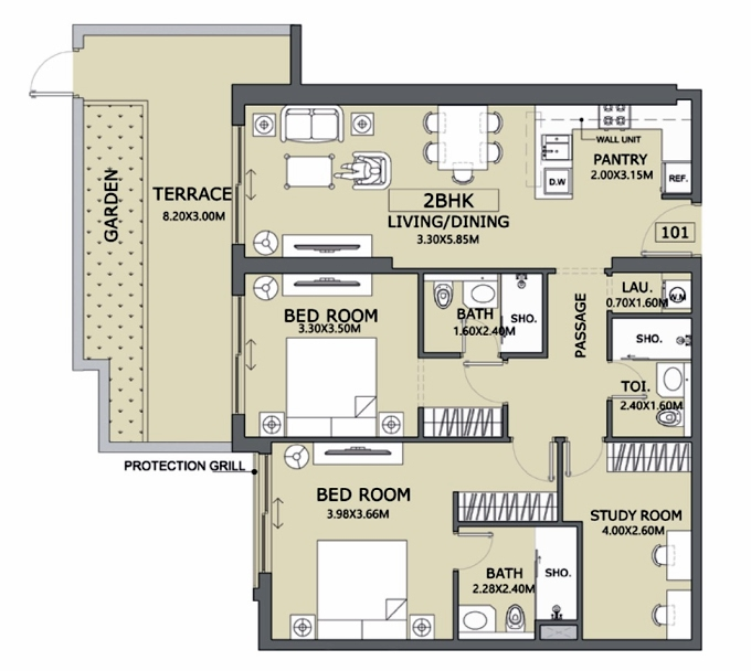Planning of the apartment 2BR, 1070.03 in Lucky 1 Residences, Dubai