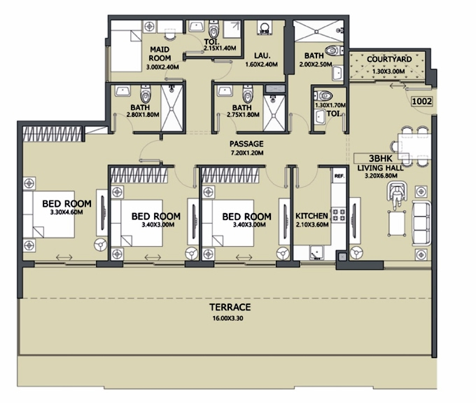 Planning of the apartment 3BR, 1437.72 in Lucky 1 Residences, Dubai