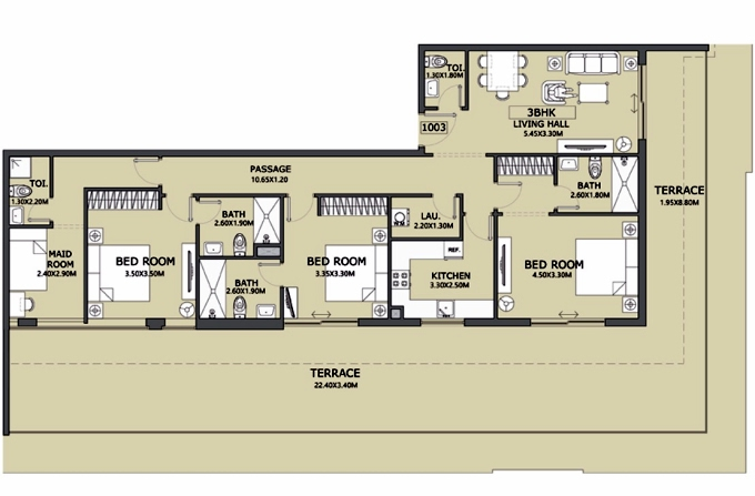 Planning of the apartment 3BR, 1446.78 in Lucky 1 Residences, Dubai