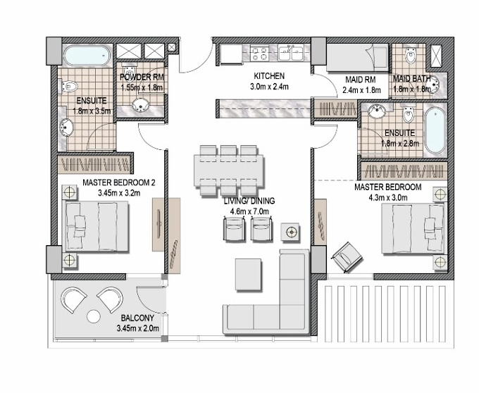 Planning of the apartment 2BR, 1131.82 in The Pulse Apartments and Townhouses, Dubai