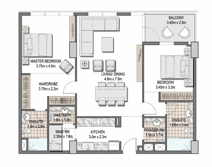 Planning of the apartment 2BR, 1181.47 in The Pulse Apartments and Townhouses, Dubai