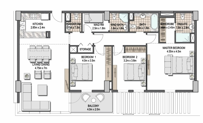 Planning of the apartment 3BR, 1484.56 in The Pulse Apartments and Townhouses, Dubai
