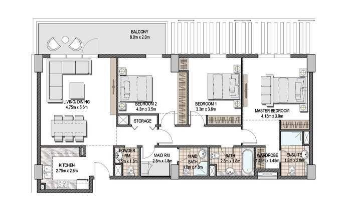 Planning of the apartment 3BR, 1398.69 in The Pulse Apartments and Townhouses, Dubai